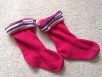 Children's 'Hunter' Red fleecech Welly socks