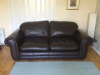 Large Chocolate Brown Leather Sofas x2 (ex Laura Ashley) ~ could split