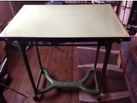 Old vintage / retro green metal table/mangle in green&black