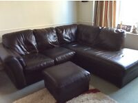 3 seater and and large corner leather sofa