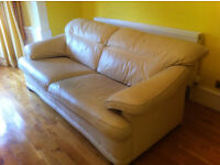 3 Seater Sofa And 2 Chairs In Cream Leather Used But In Good Condition.