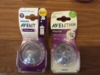 Philips avent natural 2 x newborn teats and 2 x slow flow teats