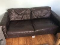 Next Used brown leather 2 seater settee