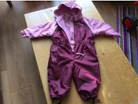 Hippychick all in one waterproof suit pink/plum 12-18 months (collection Crich)