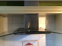 KITCHEN EXTRACTOR FAN CHIMNEY HOOD WITH CURVED GLASS