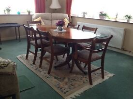 Yew Dining Table and 4 chairs and 2 carvers