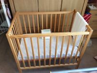 Space saver babies cot . Birth to eighteen months . Ideal for grand parents.