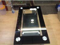 Modern Glass Crome Coffee Table Black Boarders*** Brand New
