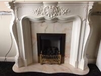 Plaster fire surround, marble back plate and hearth, very good condition