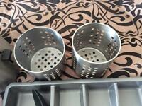 Cutlery tray, 2 stainless steel cutlery drainers, 2 utensils