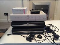 3 skyplus hd boxes. 4 sky remote controls. Router. Magic eye Cables Wireless connector. £40 the lot