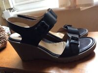 ECCO wedge leather sandals, size 39