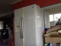 LG American fridge freezer white.Needs plumbing to deliver ice and water. Pick up only