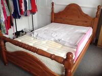 PINE WOODEN DOUBLE BED AND MATTRESS