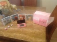 Nintendo 3ds coral pink with 7 games