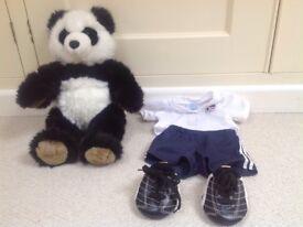 Build a bear football panda with England kit