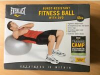 Brand new 65cm fitness ball with DVD