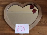 Small Wooden Heart Mirror