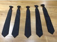 5 black clip on ties