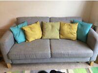 3 seater sofa . IKEA Karlstad . ISUNDA Grey. Removable Covers. Textured fabric. Smoke and pet free