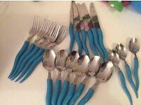 Cutlery. Blue.