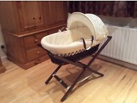 Moses Basket with Mahogany Stand