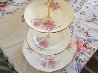 Duchess Bone China 3 Tier Cake Stand. Pink Floral.