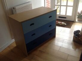 CHEST OF DRAWERS 3 Drawer unit with blue fronts.Solid piece of wooden furniture in a good condition