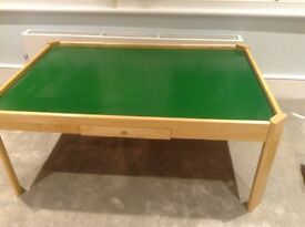 Wooden play table with drawer