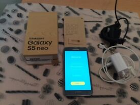 Samsung Galaxy S5 Neo mobile phone, in original box, charger, in car charger-immaculate condition