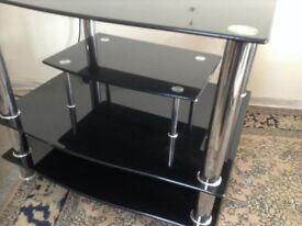 TWO BLACK TEMPERED GLASS ENTERTAINMENT TABLE