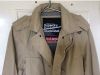 Brand New Superdry Double Black Label XL Trenchcoat