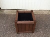 Treated soft wooden square planters