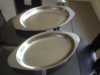 Two stainless steel serving dishes ideal for parties/BBQ etc excellent condition £4 buyer collects