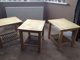 side tables - three, birch wood