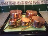 Vintage French Copper Saucepans ( set of 5)