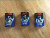 3 JVC compact VHS C EHG tapes for camcorders