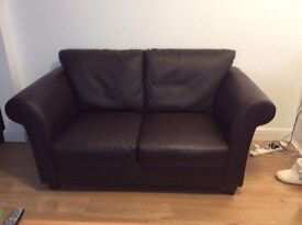 Dark brown 2 seater faux leather sofa (comfy)