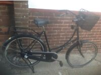 Large Ladies Dutch Town Bike with Basket 3 sp