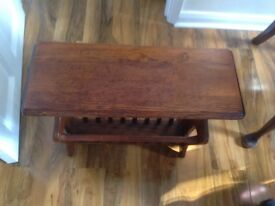 Antique solid oak magazine rack