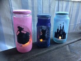 Glitter flame less candle jars