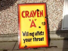 Large meteal enamel Craven A cigarette advertising sign.