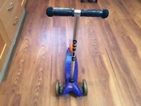 Blue 3 wheel micro scooter, used but good condition