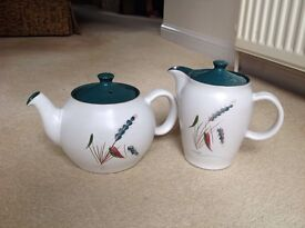 Large teapot and hot water jug. Excellent condition. Denby Greenwheat.