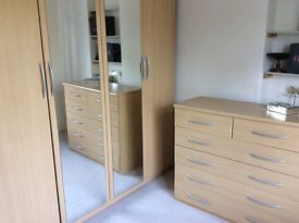 Pine Double Watdrobe with matching chest of Drawers