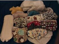 Cloth pocket nappies reusable washable and bamboo and microfibre inserts and nappy bag