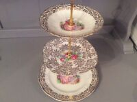 Pink and Gold Vintage Bone China 3 Tier Cake Stand.
