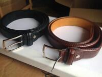 "2 Brand New Leather Belts 32""-35"""