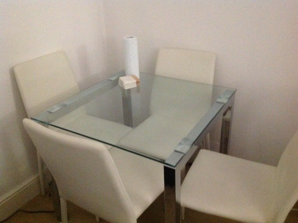 Super Stylish Glass Dining Table And 4 Chairs Perfect For