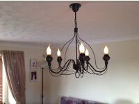 Large metal green verdigris chandelier